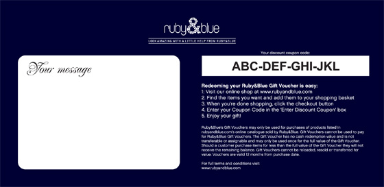 The addition of a large message box meant a redesign for the back of the voucher.
