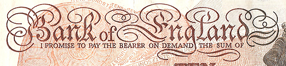 Elegant swirls are used for the text on banknotes.
