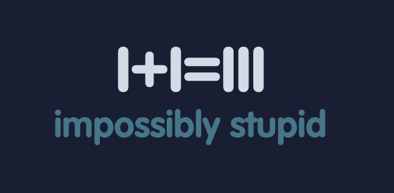The final logo for Impossibly Stupid.