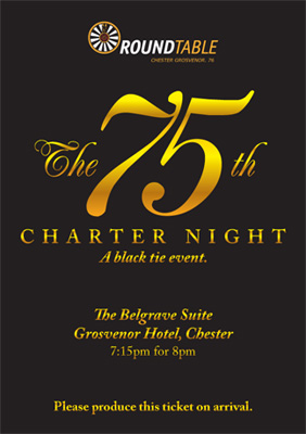 Ticket for the 75th Charter Night.