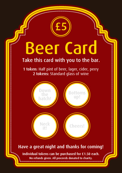 The beer card replaces small raffle tickets.