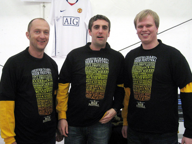 The festival tshirts, modelled by staff.