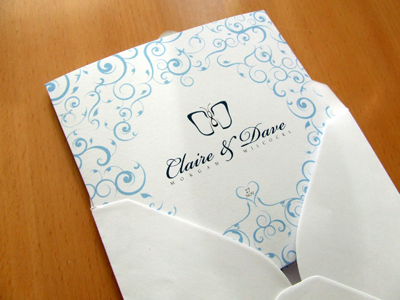 The finished invite, peeking out from a perfectly sized envelope.